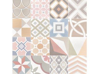 Caprice DECO patchwork pastel dlazba 20x20 dekory mix 02