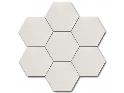 hexatile harmony bila dlazba obklady hexagony jednobarevne 01