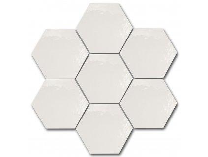 hexatile harmony bila dlazba obklady hexagony jednobarevne leskla brillo
