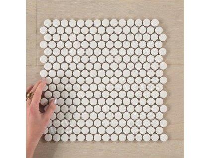 Skleněná mozaika R23-006A bíle kolečko 2,3 cm