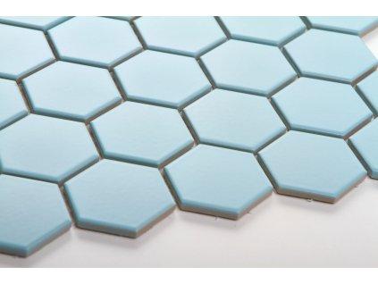 mozaika hexagon velky svetle modra mat podlaha 16