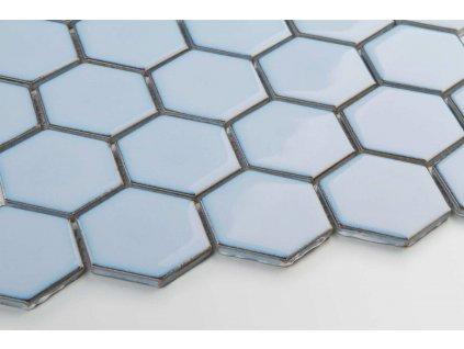mozaika hexagon velky zvonkove modra lesk steny scaled