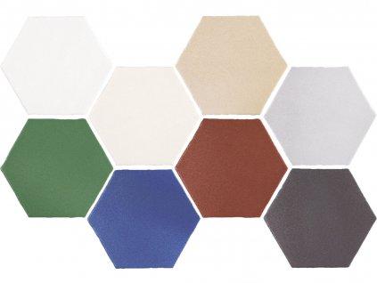 marrakech obklady dlazba dekory orientalni hexagon jednobarene matne