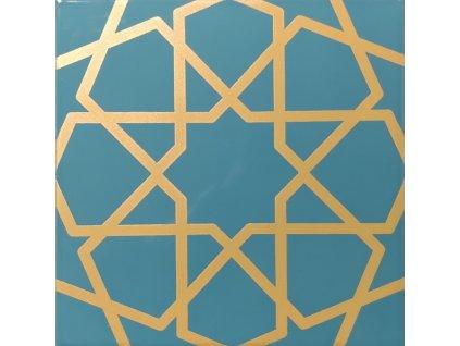 karo leskly tyrkysovy obklad s matnym zlatym geomerickym dekorem 20x20