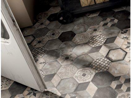 dlažba a obklad do interiéru matná jednobarevná dekorovaná hexagon terra