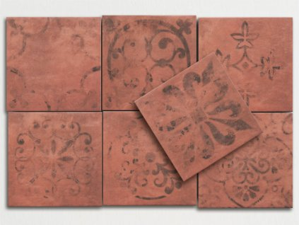 cottage dlazba dekory seda rustikalni retro 15x15 red clay