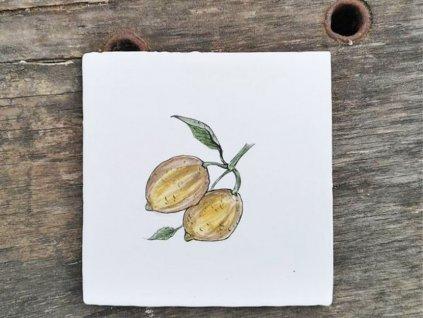 rucne malovany obklad s dekorem citronu vinciobklady