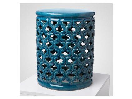 stolek keramicky tyrkysovy zdobeny leskly vinciprojekt