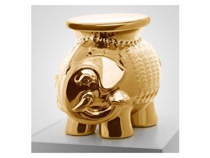 stolek slon keramicky zlatý leskly vinciprojekt
