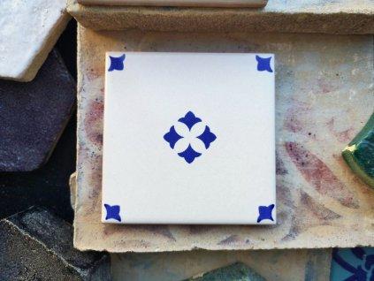 obklady rucne malovane modro bile dekor 09