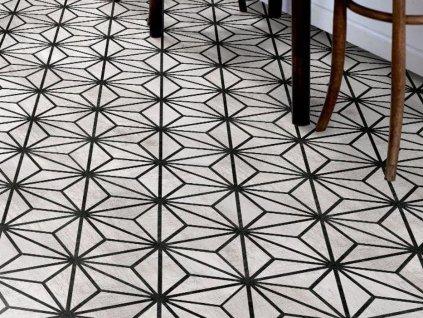 tribeca dlazba hexagon sestihran retro dekor vzor 04