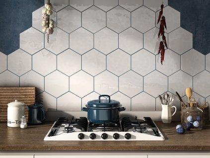 lisboa hexatile obklady hexagonalni dekory modrobile retro 09 jednobarevne bile