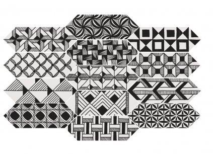 Obklad mrazuvzdorný matný mix dekorů Kite Patchwork 10x30