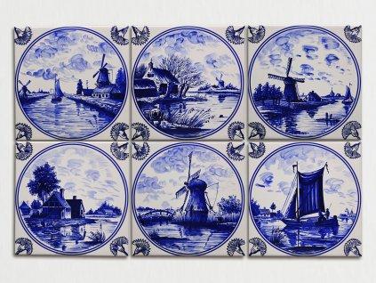 obklady modrotisk obtisky malovane bila holandske