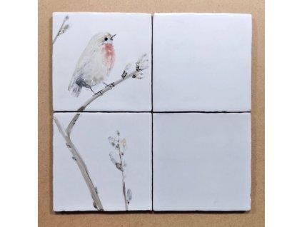 obklady rucne malovane ptacek selske 01