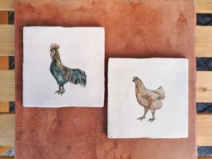 rucne malovane obklady selske malir jv slepice kohout drubez