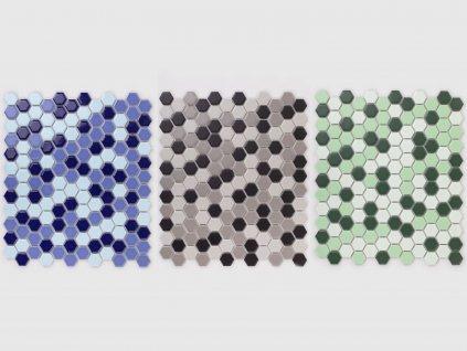 hexagon maly mozaika mix barev modra zelena seda 07