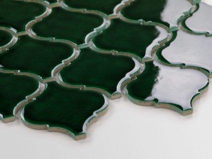 arabeska mozaika na siti velka leskla smaragdove zelena