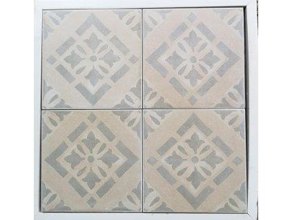Cementi Novecento Petali Grigio 20x20 dlažba nebo obklady s šedým dekorem