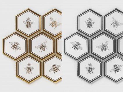 mozaika vcely stribrna zlata hexagon sestiuhelnik 01