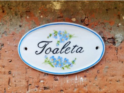 keramicky dverni stitek toaleta s dekorem pomněnka vinciobklady