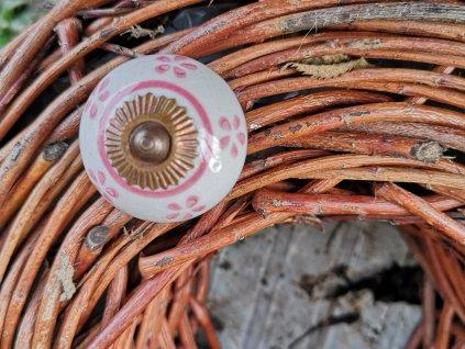 keramicka bila uchytka se selskym ruzovym dekorem 4 cm vinci obklady