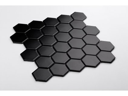 mozaika hexagon velky cerna matna 02