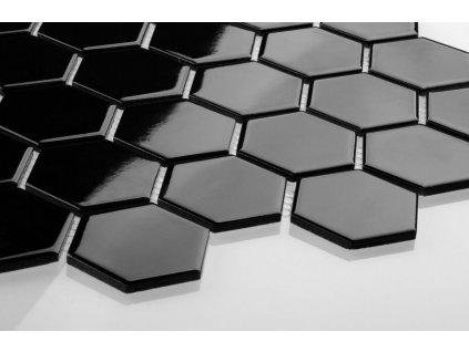 mozaika hexagon cerna lesk steny
