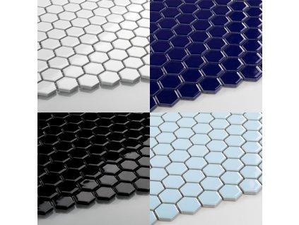 hexagon maly mozaika leskla jednobarevna