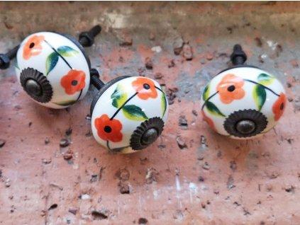 uchytka keramicka porcelanova nopka barevna kvitka