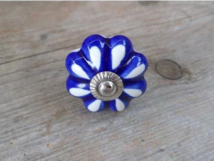 uchytka keramicka porcelanova nopka modro bila 07