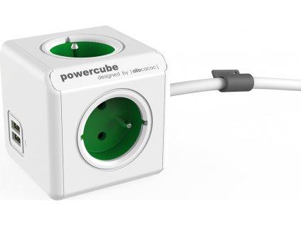 POWERCUBE multifunkční zásuvkový systém EXTENDED USB GREEN- kostka 4 zásuvky + 2x USB 1,5m kabel