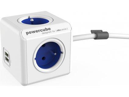 POWERCUBE multifunkční zásuvkový systém EXTENDED USB BLUE- kostka 4 zásuvky + 2x USB 1,5m kabel