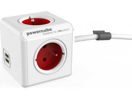 POWERCUBE multifunkční zásuvkový systém EXTENDED USB RED- kostka 4 zásuvky + 2x USB 1,5m kabel