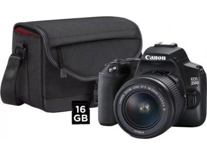 CANON zrcadlovka EOS 250D + EF-S18-55mm f/3.5-5.6 III + CB-SB130 + 16GB