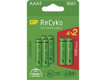 Nabíjecí baterie GP ReCyko 1000 AAA (HR03), 6 ks