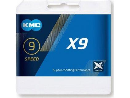 KMC X9 -  9 rychlostí - šedý - 114 článků