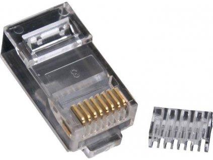 Masterlan konektor UTP RJ45, Cat.6, 8p8c, pozlacený, skládaný - drát