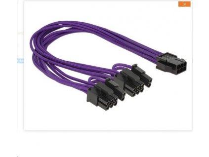 Delock napájecí kabel PCI Express 6 pin samice > 2 x 8 pin samec textilní stínění fialové
