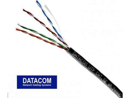 DATACOM UTP drát CAT5E PE,Fca 305m box černý OUTDOOR