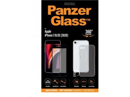 PanzerGlass Edge-to-Edge Bundle 2v1 pro Apple iPhone 7/8/SE 2020 černé (sklo + čirý TPU obal)