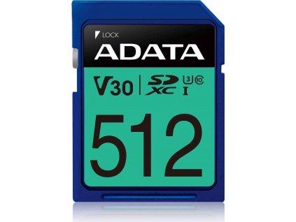 ADATA SDXC karta 512GB Premier Pro UHS-I U3 Class10 V30 100/80MB/s