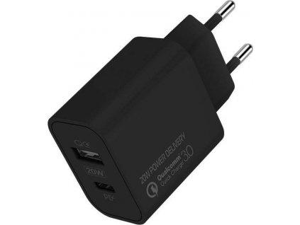 ColorWay AC nabíječka USB a USB-C 20W, černý