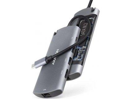 AXAGON HMC-6M2, USB 3.2 Gen 1 hub, porty 2x USB-A, HDMI, M.2