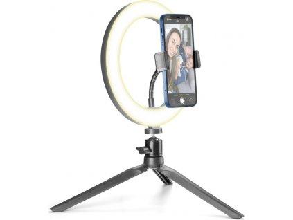 Tripod Cellularline Selfie Ring s LED osvětlením pro selfie fotky a videa, černý