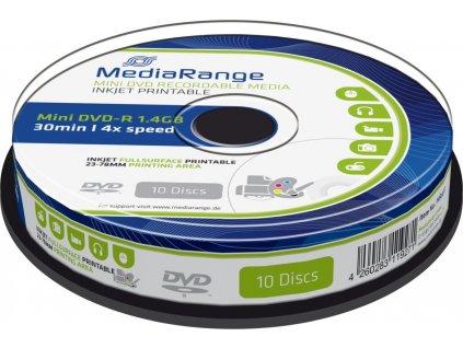 MediaRange DVD-R 8cm 1,4GB 4x spindl 10pck/bal Inkjet Printable