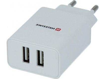 SWISSTEN Smart IC síťová nabíječka 2x USB 2,1A bílý