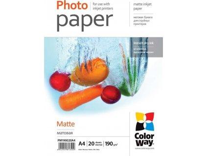 ColorWay fotopapír matný 190g/m2 A4 20ks