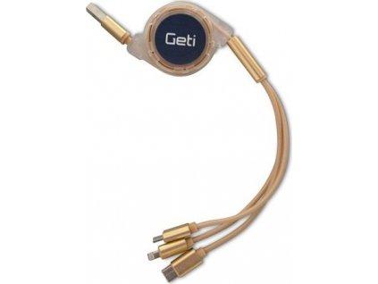 Kabel Geti GCU 05 USB 3v1 zlatý samonavíjecí