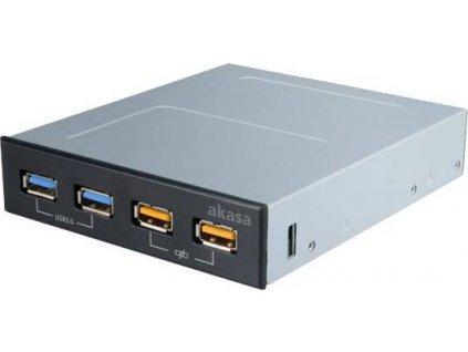"""AKASA přední panel AK-ICR-25/ 2x USB3.0 / 2x USB nabíjecí port/ 3,5"""" černý"""